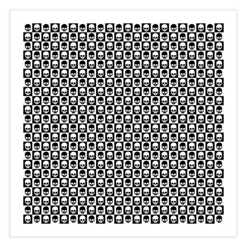 Checkered Skulls Pattern I Home Fine Art Print by Art Design Works