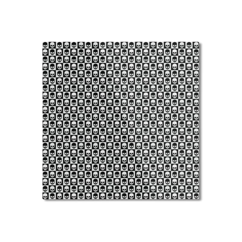 Checkered Skulls Pattern I Home Mounted Aluminum Print by Art Design Works