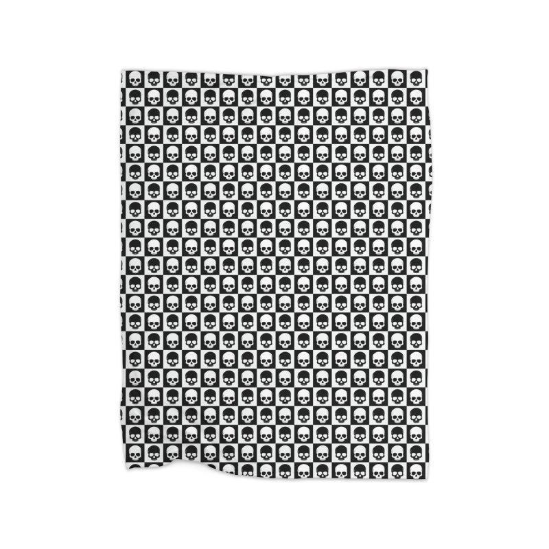 Checkered Skulls Pattern I Home Blanket by Art Design Works