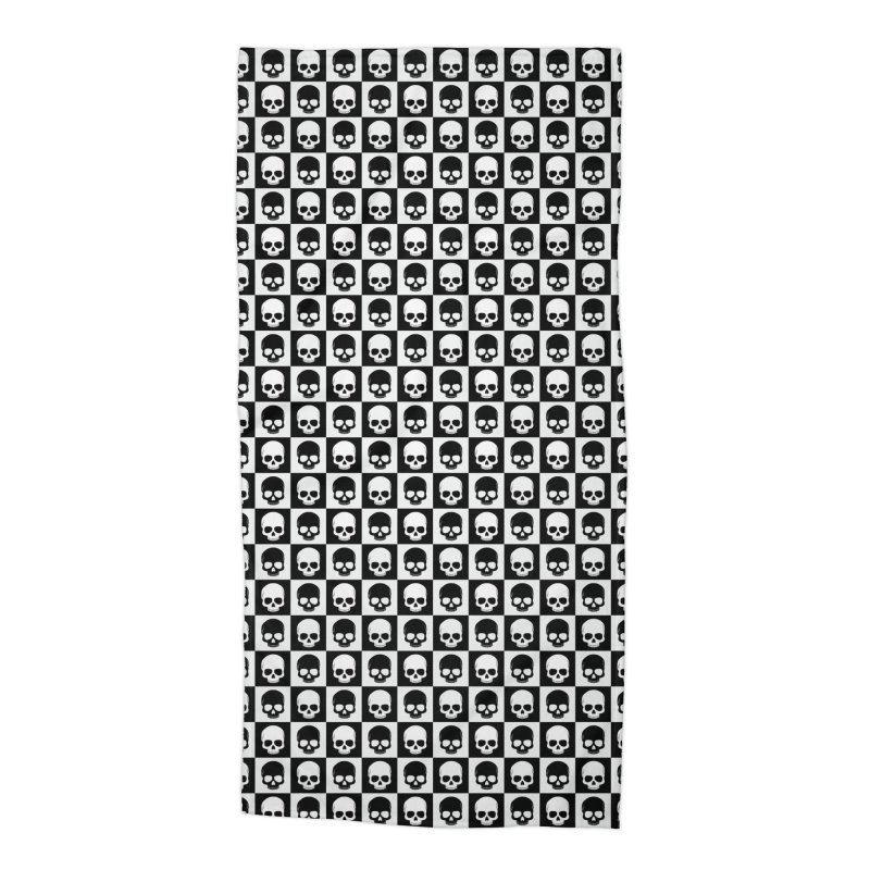 Checkered Skulls Pattern I Accessories Beach Towel by Art Design Works
