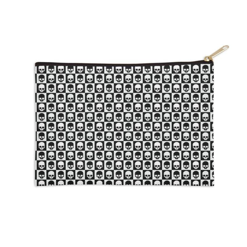 Checkered Skulls Pattern I Accessories Zip Pouch by Art Design Works