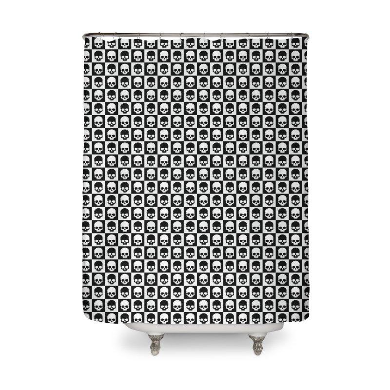 Checkered Skulls Pattern I Home Shower Curtain by Art Design Works