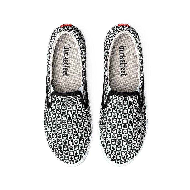 Checkered Skulls Pattern I Men's Shoes by Art Design Works