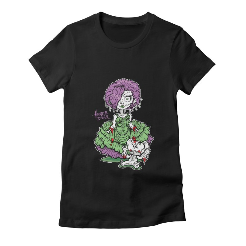 Horror Doll No.2 in Women's Fitted T-Shirt Black by Artbytobias's Artist Shop