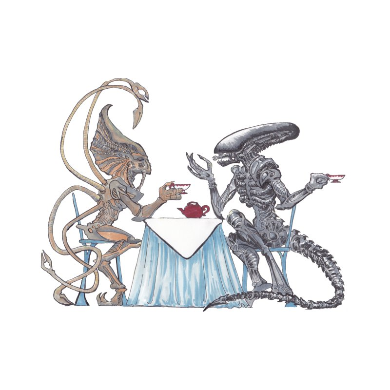 Alien Tea Time Accessories Beach Towel by ArtemisStudios's Artist Shop
