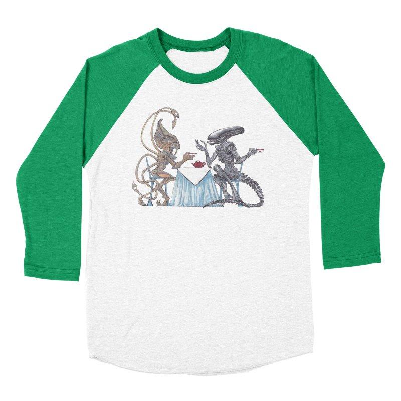 Alien Tea Time Men's Baseball Triblend Longsleeve T-Shirt by ArtemisStudios's Artist Shop