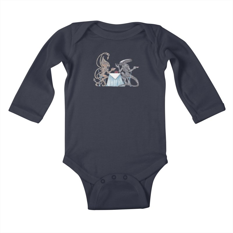 Alien Tea Time Kids Baby Longsleeve Bodysuit by ArtemisStudios's Artist Shop