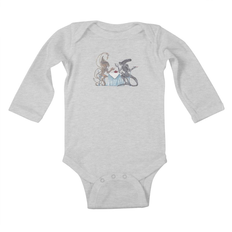 Alien Tea Time Kids Baby Longsleeve Bodysuit by ArtemisStudios's Artist Shop