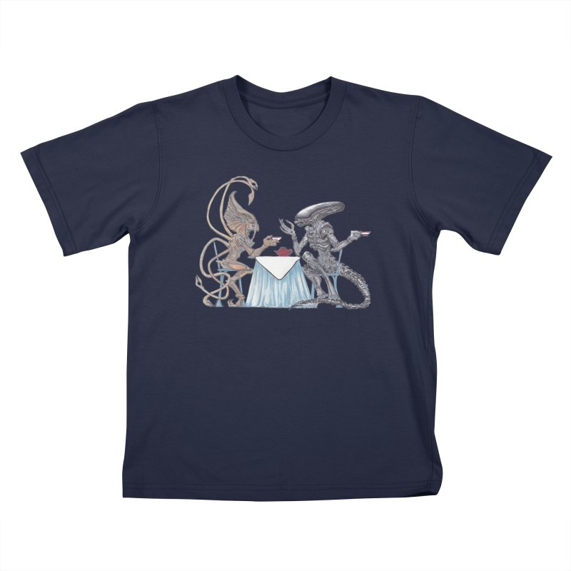 Alien Tea Time Kids T-Shirt by ArtemisStudios's Artist Shop