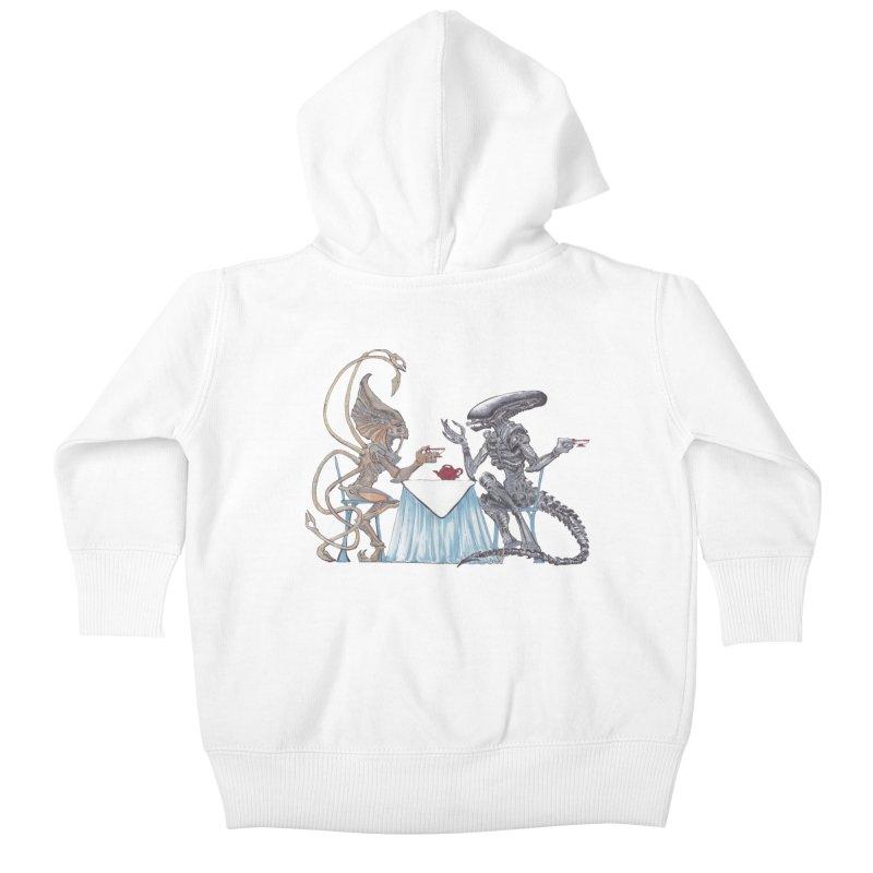 Alien Tea Time Kids Baby Zip-Up Hoody by ArtemisStudios's Artist Shop