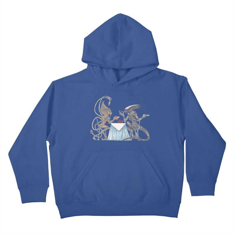 Alien Tea Time Kids Pullover Hoody by ArtemisStudios's Artist Shop