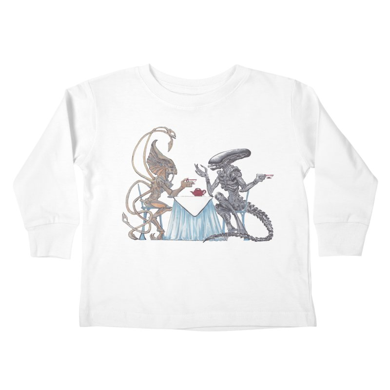 Alien Tea Time Kids Toddler Longsleeve T-Shirt by ArtemisStudios's Artist Shop