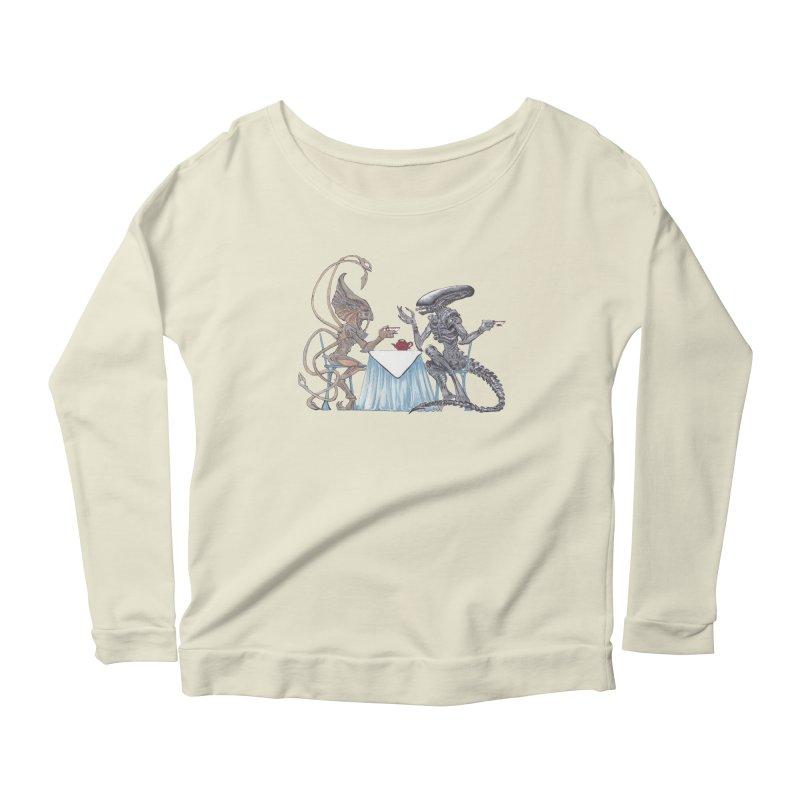 Alien Tea Time Women's Scoop Neck Longsleeve T-Shirt by ArtemisStudios's Artist Shop