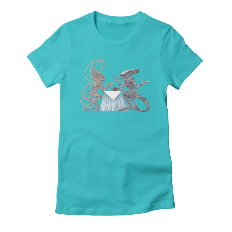Alien Tea Time Women's Fitted T-Shirt by ArtemisStudios's Artist Shop