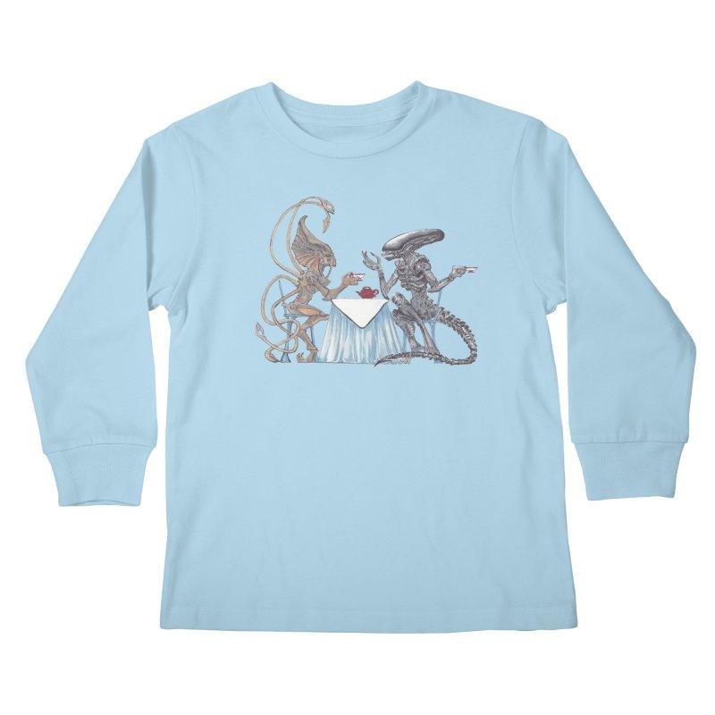 Alien Tea Time Kids Longsleeve T-Shirt by ArtemisStudios's Artist Shop