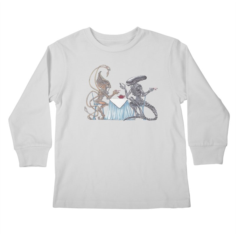 Alien Tea Time Kids Longsleeve T-Shirt by ArtemisStudios's Artist Shop