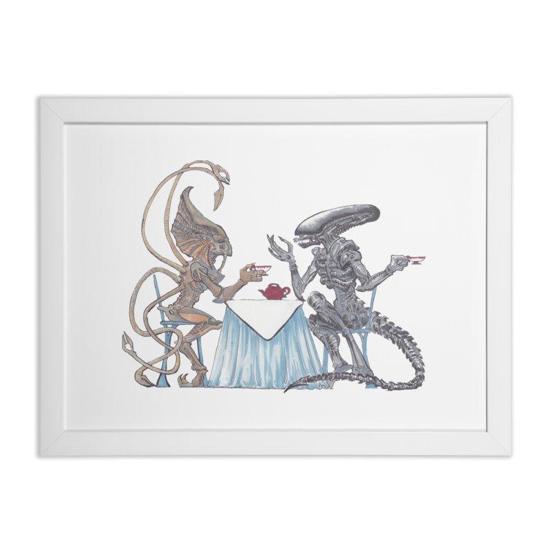 Alien Tea Time Home Framed Fine Art Print by ArtemisStudios's Artist Shop