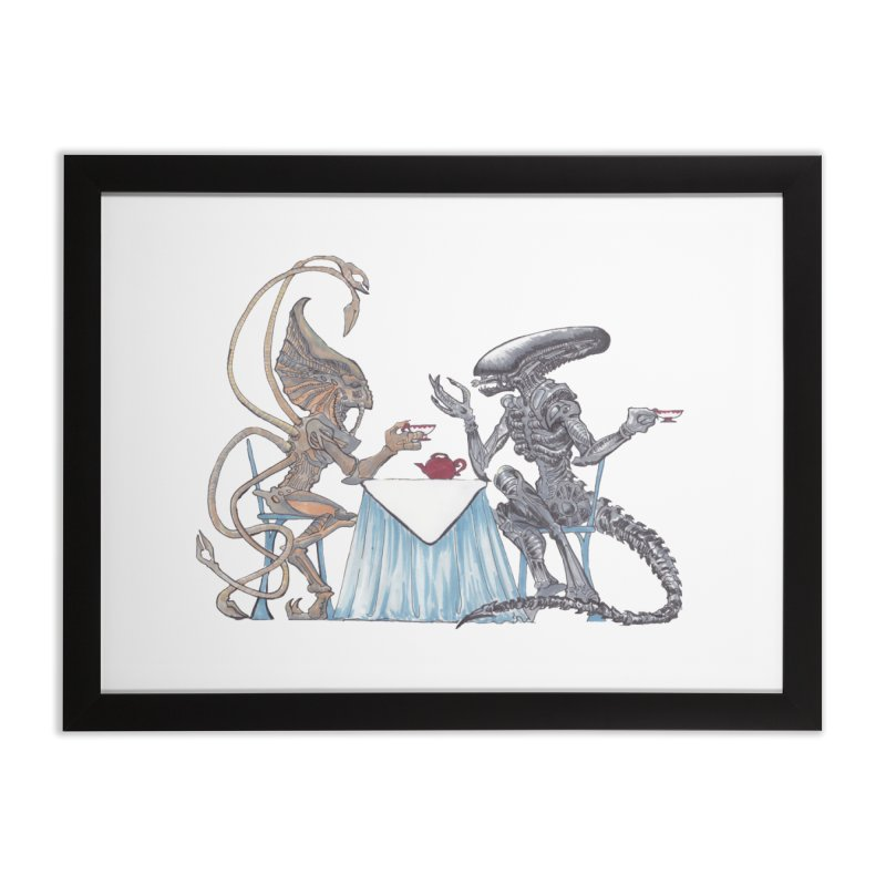 Alien Tea Time Home Framed Fine Art Print by ArtemisStudios's Artist Shop