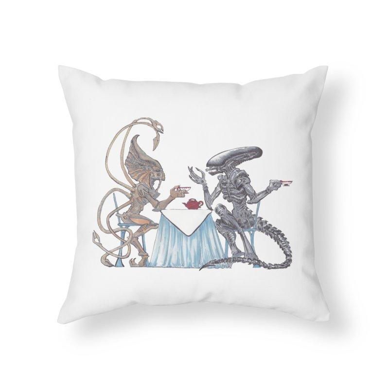 Alien Tea Time Home Throw Pillow by ArtemisStudios's Artist Shop