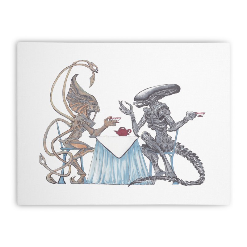 Alien Tea Time Home Stretched Canvas by ArtemisStudios's Artist Shop