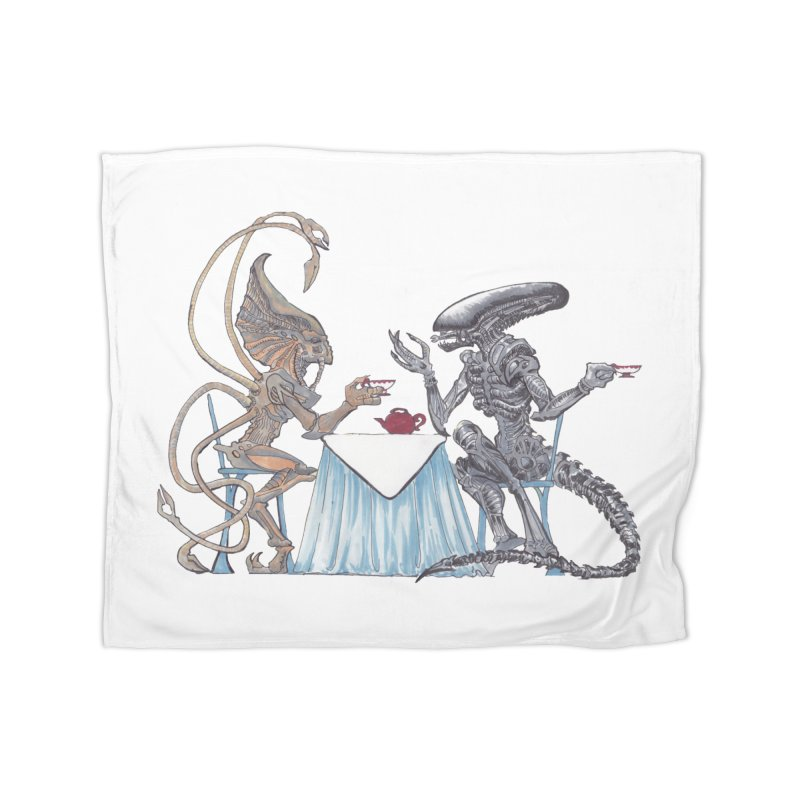 Alien Tea Time Home Fleece Blanket Blanket by ArtemisStudios's Artist Shop
