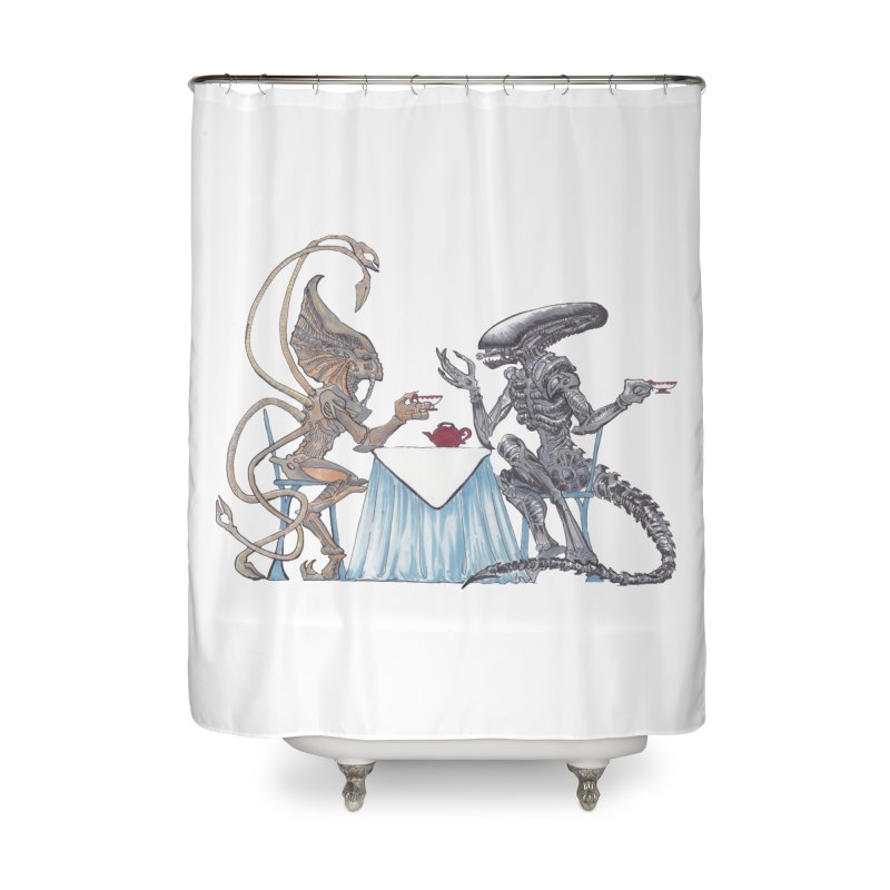 Alien Tea Time Home Shower Curtain by ArtemisStudios's Artist Shop