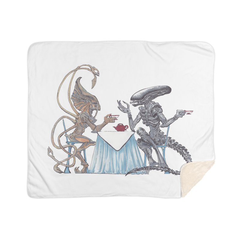 Alien Tea Time Home Sherpa Blanket Blanket by ArtemisStudios's Artist Shop