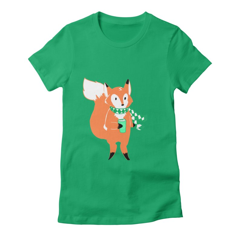 Holiday Like a Fox in Women's Fitted T-Shirt Kelly by ArtemisStudios's Artist Shop