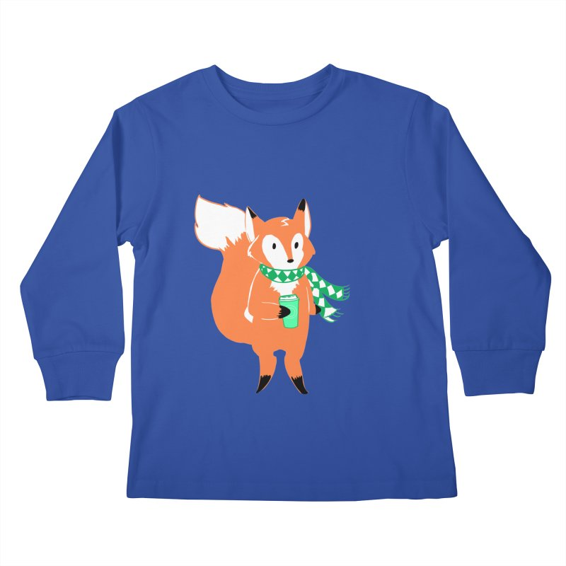 Holiday Like a Fox Kids Longsleeve T-Shirt by ArtemisStudios's Artist Shop