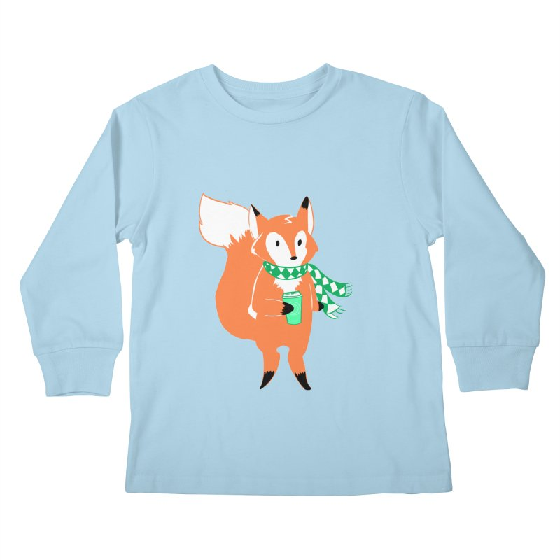 Holiday Like a Fox Kids Longsleeve T-Shirt by ArtemisStudios's Artist Shop