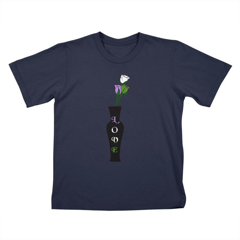 Genderqueer Pride Roses Kids T-Shirt by Artistfire Studios