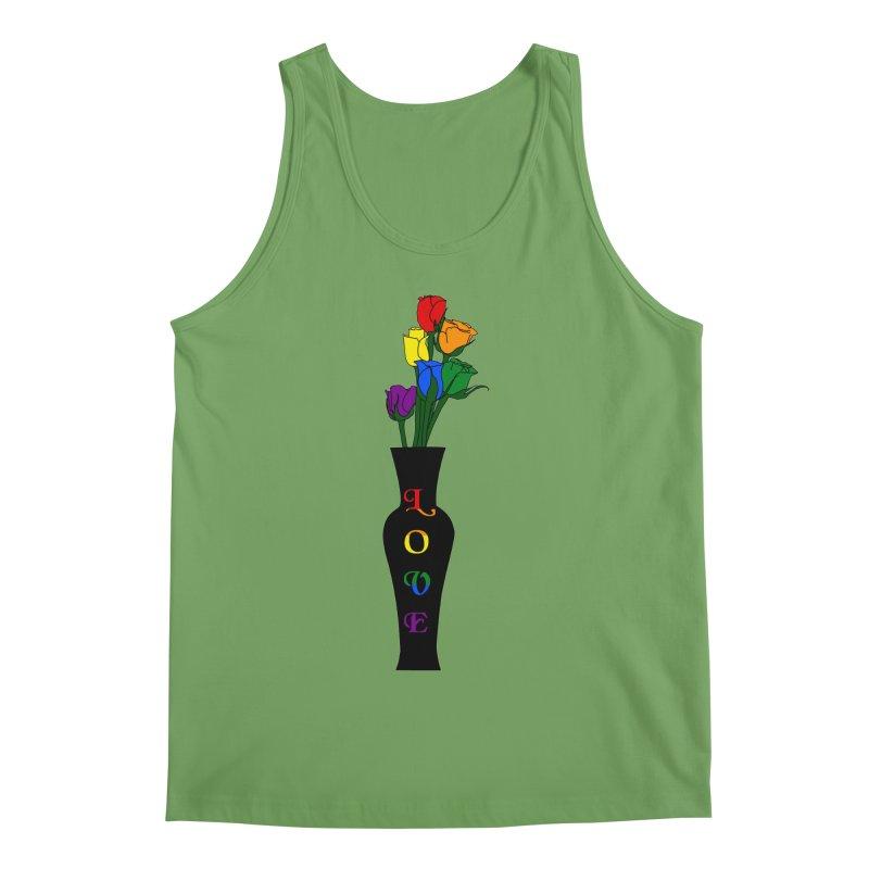 LGBTQ Pride Roses Men's Tank by Artistfire Studios