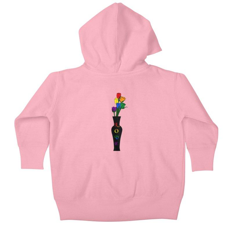 LGBTQ Pride Roses Kids Baby Zip-Up Hoody by Artistfire Studios