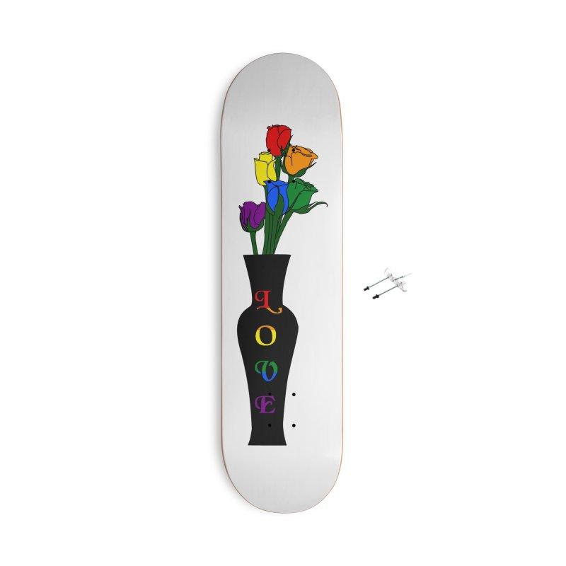 LGBTQ Pride Roses Accessories Skateboard by Artistfire Studios
