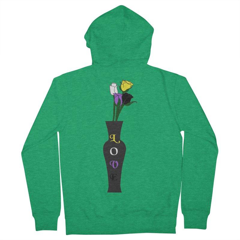 Non-Binary Pride Roses Men's Zip-Up Hoody by Artistfire Studios
