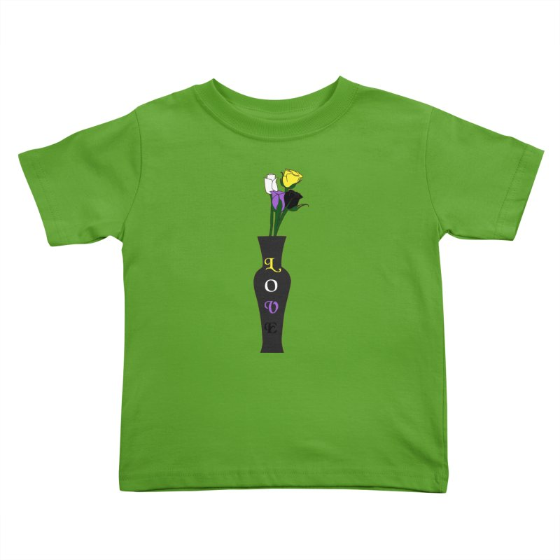 Non-Binary Pride Roses Kids Toddler T-Shirt by Artistfire Studios