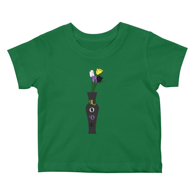 Non-Binary Pride Roses Kids Baby T-Shirt by Artistfire Studios