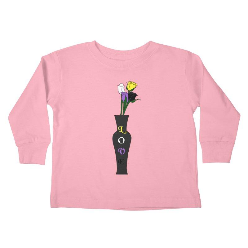Non-Binary Pride Roses Kids Toddler Longsleeve T-Shirt by Artistfire Studios