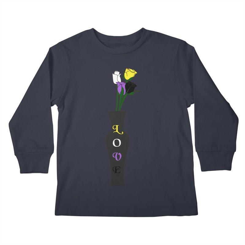 Non-Binary Pride Roses Kids Longsleeve T-Shirt by Artistfire Studios