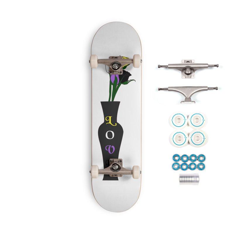 Non-Binary Pride Roses Accessories Skateboard by Artistfire Studios