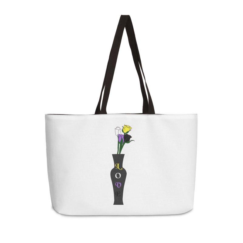 Non-Binary Pride Roses Accessories Bag by Artistfire Studios