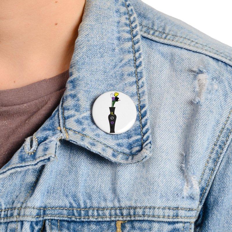 Non-Binary Pride Roses Accessories Button by Artistfire Studios