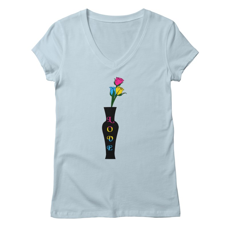 Pansexual Pride Roses Women's V-Neck by Artistfire Studios