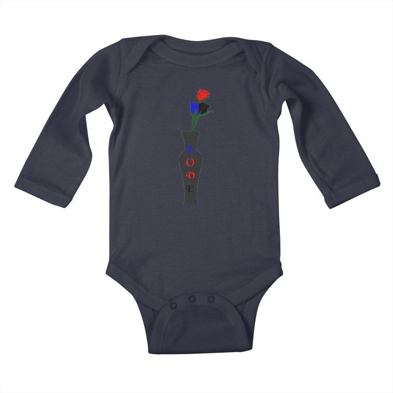 Polyamorous Pride Roses Kids Baby Longsleeve Bodysuit by Artistfire Studios