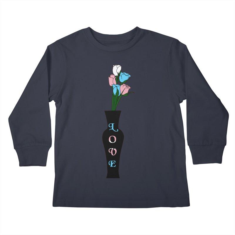 Transgender Pride Roses Kids Longsleeve T-Shirt by Artistfire Studios