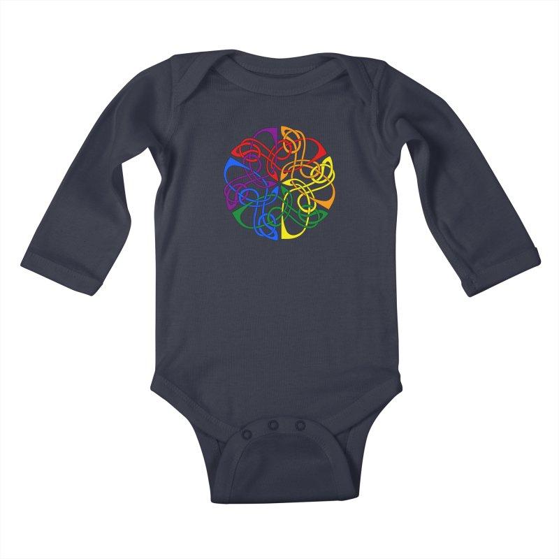 LGBTQ Pride Celtic Mandala Kids Baby Longsleeve Bodysuit by Artistfire Studios