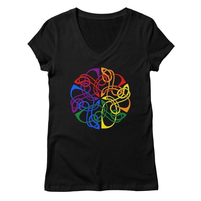 LGBTQ Pride Celtic Mandala Women's V-Neck by Artistfire Studios