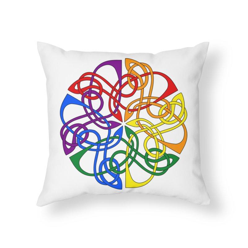 LGBTQ Pride Celtic Mandala Home Throw Pillow by Artistfire Studios