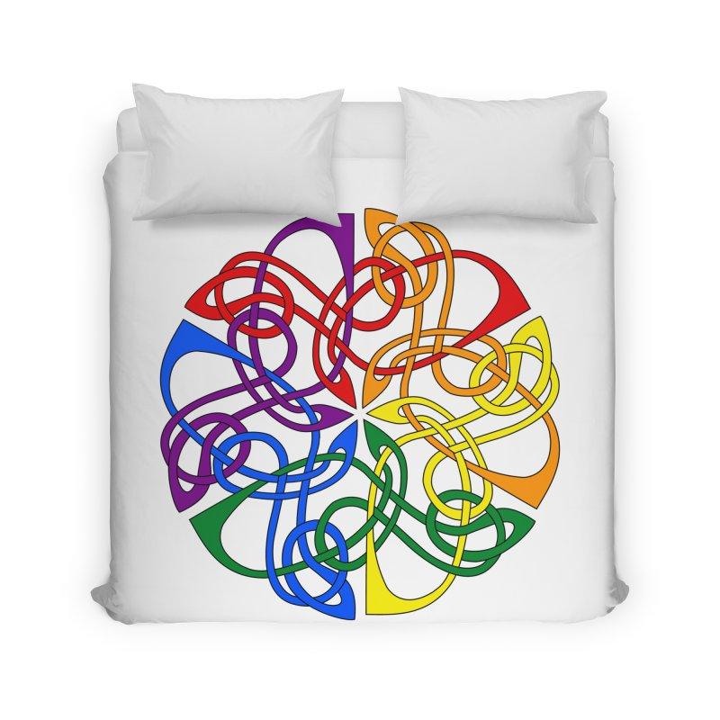 LGBTQ Pride Celtic Mandala Home Duvet by Artistfire Studios