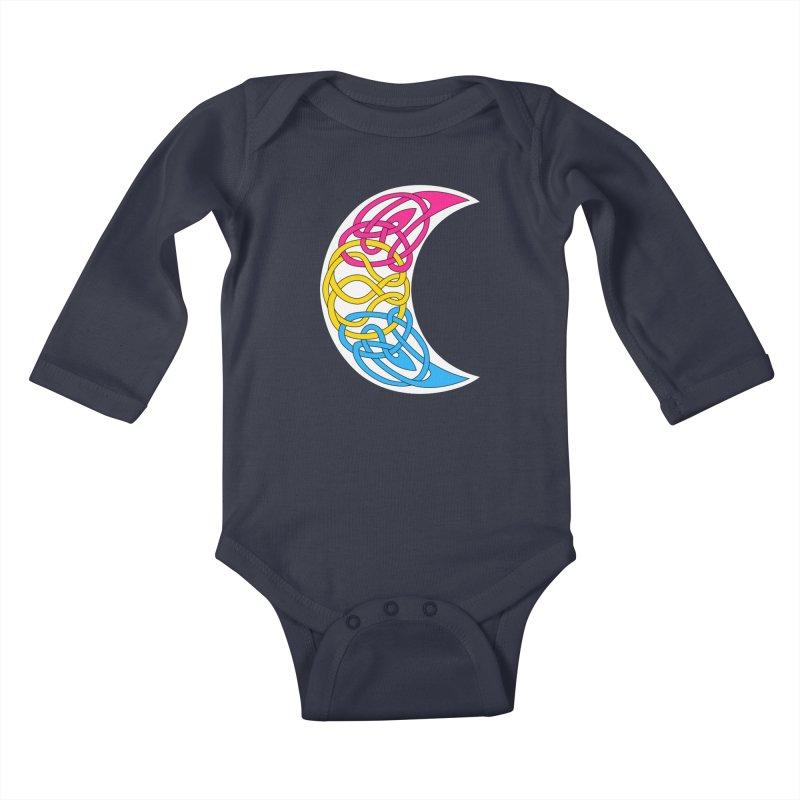 Pansexual Pride Celtic Moon Kids Baby Longsleeve Bodysuit by Artistfire Studios
